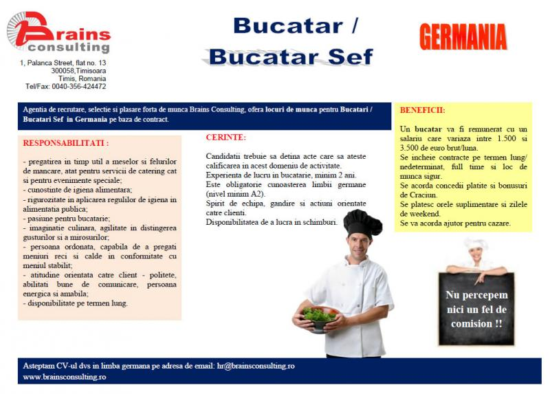 Bucatar / Bucatar Sef in Germania