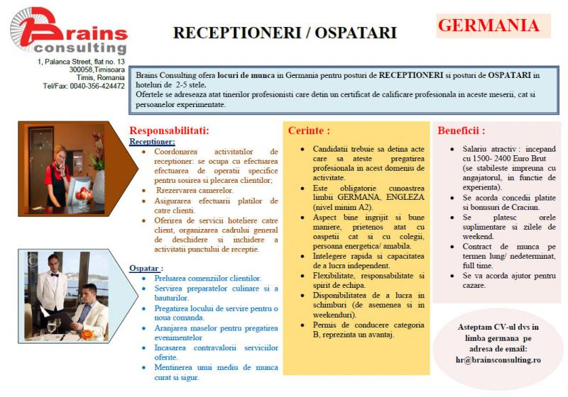 RECEPTIONERI si OSPATARI in Germania