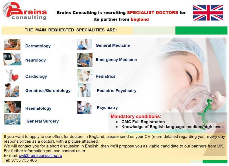 Brains Consulting is recruiting SPECIALIST DOCTORS for its partner from England