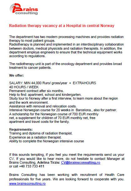 Radiation therapy vacancy at a Hospital in central Norway