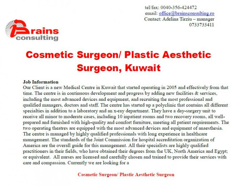 Cosmetic Surgeon/ Plastic Aesthetic Surgeon, Kuwait