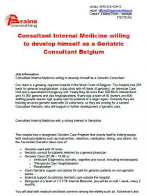 Consultant Internal Medicine willing to develop himself as a Geriatric Consultant Belgium