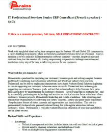 IT Professional Services Senior ERP Consultant (French speaker) - $60k